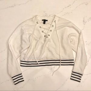 Forever 21 white cropped hoodie cross stitch